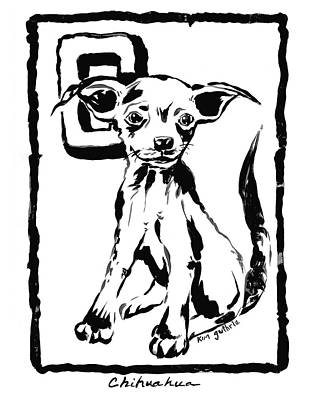 Wall Art - Painting - Dog Drawing Chihuahua  by Kim Guthrie