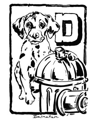 Wall Art - Painting - Dog Drawing Dalmatian by Kim Guthrie