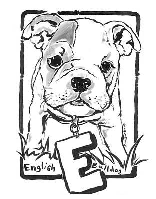 Wall Art - Painting - Dog Drawing English Bulldog by Kim Guthrie