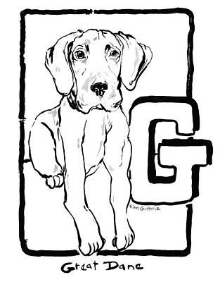 Wall Art - Painting - Dog Drawing Great Dane by Kim Guthrie
