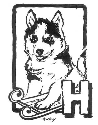 Wall Art - Painting - Dog Drawing Husky by Kim Guthrie
