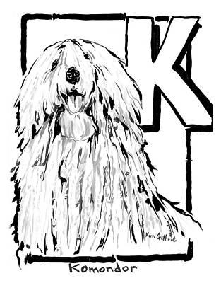 Wall Art - Painting - Dog Drawing Komondor by Kim Guthrie