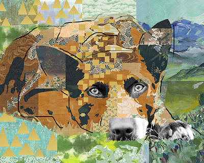 Art Deco Mixed Media - Dog Dreaming Collage by Claudia Schoen
