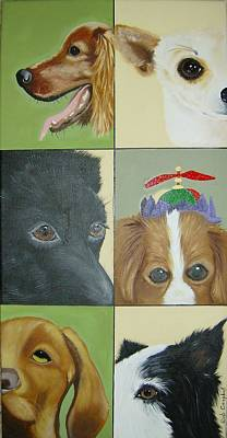 Painting - Dog Faces Of Love by Debra Campbell