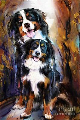 Bernese Mountain Dog Mixed Media -  Dog Family by Melanie D