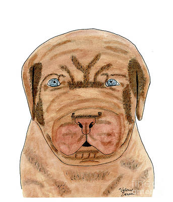 Painting - Dog French Mastiff Puppy Watercolor Painting by Valerie Garner