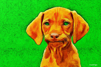 Purebred Digital Art - Dog Friend Green - Pa by Leonardo Digenio