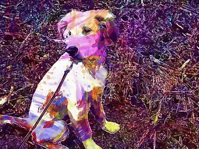Golden Retriever Digital Art - Dog Golden Retriever Cute Pet  by PixBreak Art
