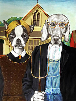 Mixed Media - Dog Gothic by Courtney Kenny Porto