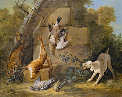 Photograph - Dog Guarding Dead Game by Jean Baptiste Oudry