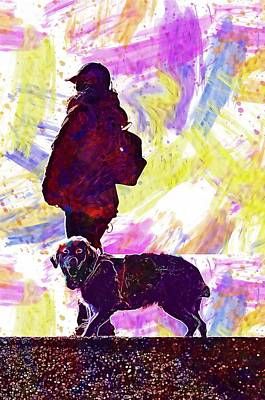 Digital Art - Dog Human Animal Beach Labrador  by PixBreak Art