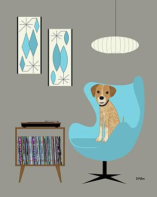 Digital Art - Dog In Egg Chair by Donna Mibus
