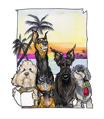 Doberman Drawing - Dog Island Getaway by John LaFree