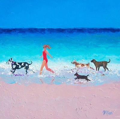 Dog Jog Art Print by Jan Matson