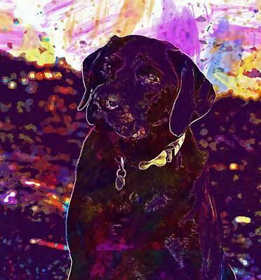 Labrador Digital Art - Dog Labrador Animal Beautiful  by PixBreak Art