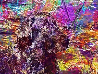 Labrador Digital Art - Dog Labrador Animal Pet Bitch  by PixBreak Art