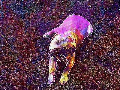 Labrador Digital Art - Dog Labrador Gold Playing Puppy  by PixBreak Art
