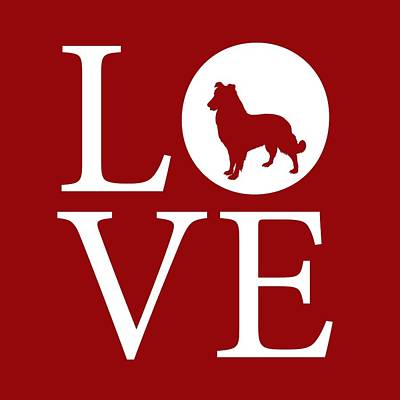 Digital Art - Dog Love Red by Nancy Ingersoll