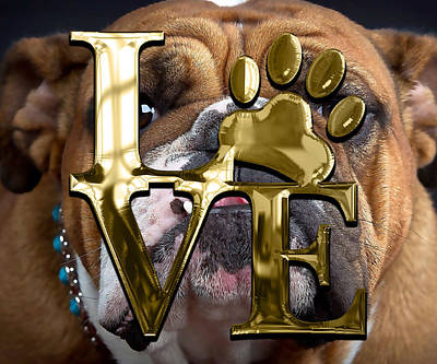 Mixed Media - Dog Lover Collection English Bulldog by Marvin Blaine