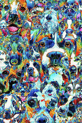 Dog Lovers Delight - Sharon Cummings Art Print by Sharon Cummings