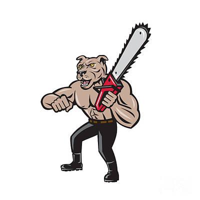 Agriculture Digital Art - Dog Lumberjack Tree Surgeon Arborist Chainsaw Cartoon by Aloysius Patrimonio