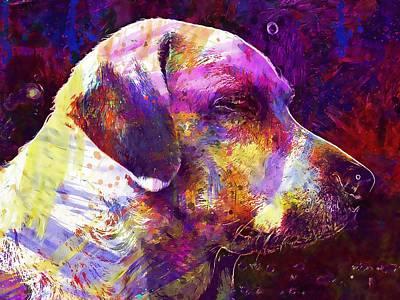 Labrador Digital Art - Dog Lying Weimaraner Labrador Mix  by PixBreak Art