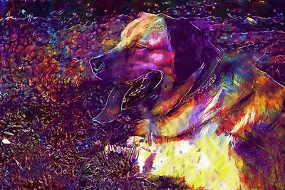 Labrador Digital Art - Dog Mascot Labrador Animal Canine  by PixBreak Art
