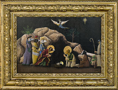 Dog Nativity Original by Timothy Campbell