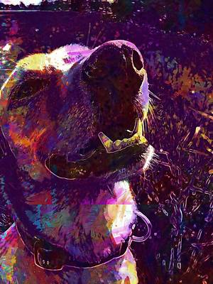 Labrador Digital Art - Dog Nose Head Labrador Meadow  by PixBreak Art