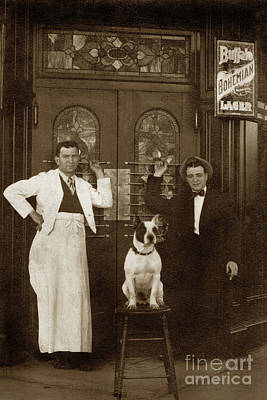 Photograph - Dog On A Bar Stool With Bartender And An Other Man In Front Of A by California Views Mr Pat Hathaway Archives