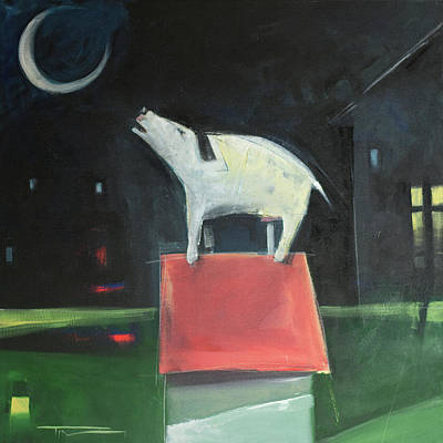 Painting - Dog On His House Barks At Moon by Tim Nyberg