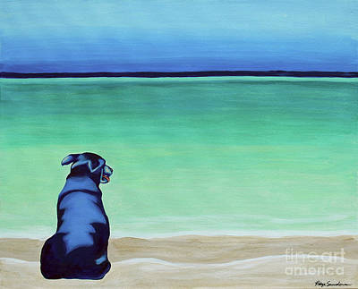 Painting - Black Lab Dog On The Beach by Robyn Saunders