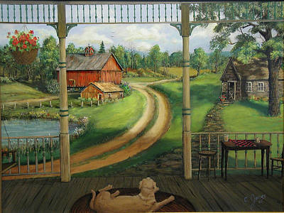 Wall Art - Painting - Dog On Porch by C Keith Jones