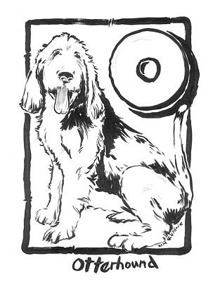 Wall Art - Painting - Dog Painting Black And White Otterhound And The Letter O by Kim Guthrie