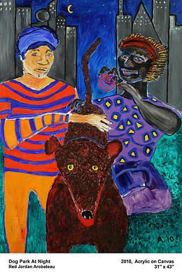 Dog Park At Night Art Print by Red Jordan Arobateau