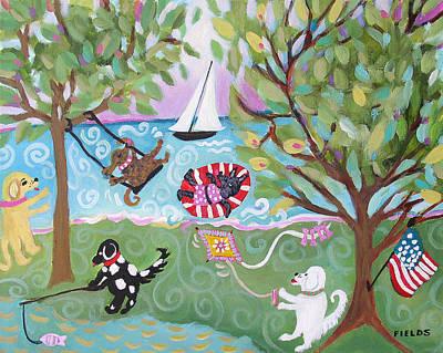 Dog Play Beach Painting - Dog Park Dog Hangout by Karen Fields