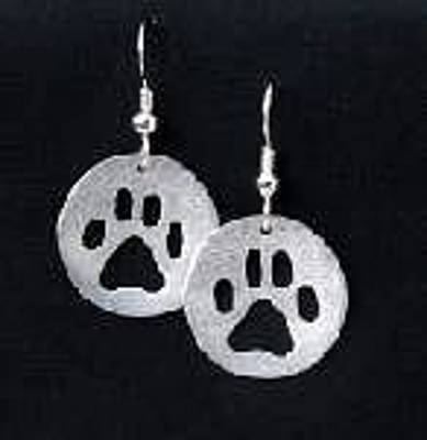 Canine Earrings Jewelry - Dog Paw Earrings by Heather  Hamilton