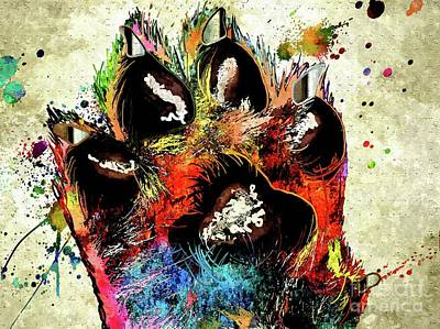 Abstract Of Dogs Mixed Media - Dog Paw Grunge by Daniel Janda