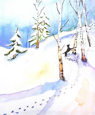 Painting - Dog Play In Snow Forest by Carlin Blahnik CarlinArtWatercolor