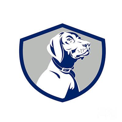 Dog Head Digital Art - Dog Pointer Head Profile Side Crest Retro by Aloysius Patrimonio
