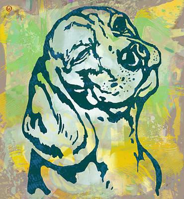 Dog Pop Art Drawing - Dog Pop Art Etching Poster by Kim Wang