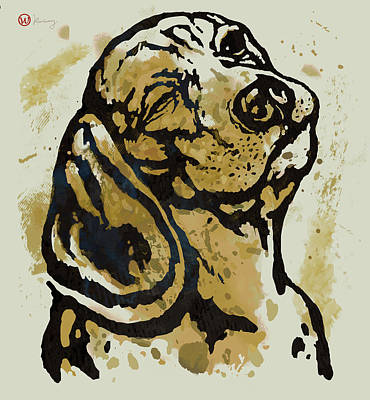 Charcoal Mixed Media -  Dog Pop Art Poster by Kim Wang
