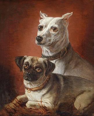 Hamburger Painting - Dog Portraits by Julius Hamburger