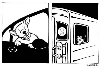 Drawing - Dog Riding In Car And Rat Riding In Subway by Maggie Larson