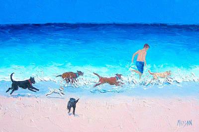 Dogs On Beach Painting - Dog Run by Jan Matson