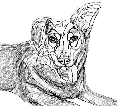 Digital Art - Dog Sketch In Charcoal 1 by Ania Milo