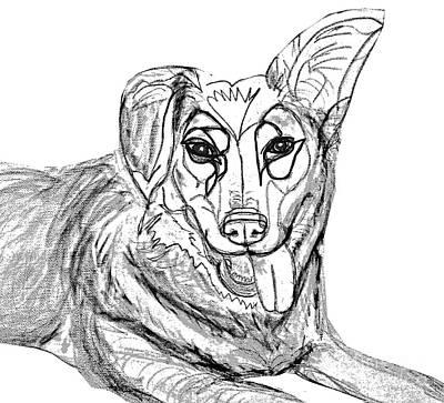 Dog Sketch In Charcoal 1 Art Print