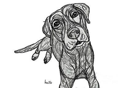 Ania Digital Art - Dog Sketch In Charcoal 10 by Ania M Milo