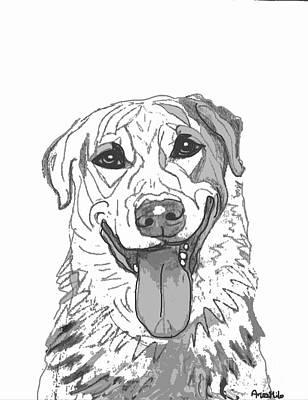 Dog Sketch In Charcoal 2 Art Print