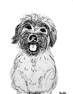 Dog Sketch In Charcoal 6 Art Print